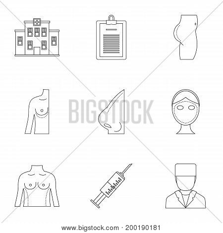 Surgery correction icon set. Outline style set of 9 surgery correction vector icons for web isolated on white background