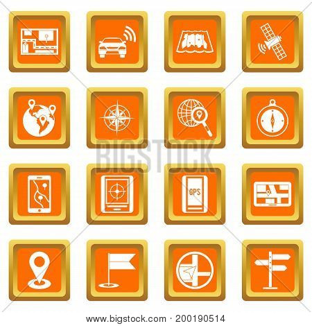 Navigation icons set in orange color isolated vector illustration for web and any design