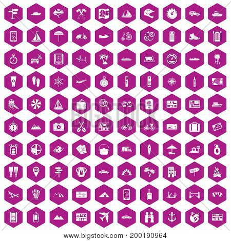 100 travel icons set in violet hexagon isolated vector illustration