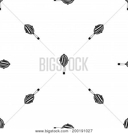 Hand mirror pattern repeat seamless in black color for any design. Vector geometric illustration