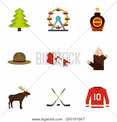 Country of Canada icon set. Flat style set of 9 country of Canada vector icons for web isolated on white background
