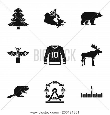 Canada icon set. Simple style set of 9 Canada vector icons for web isolated on white background