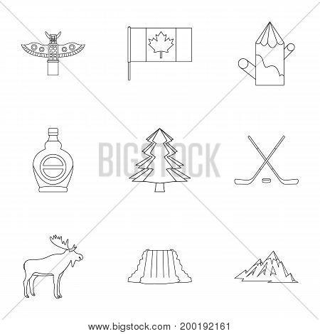 Landmarks of Canada icon set. Outline style set of 9 landmarks of Canada vector icons for web isolated on white background