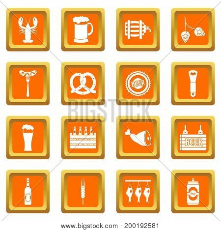 Beer icons set in orange color isolated vector illustration for web and any design