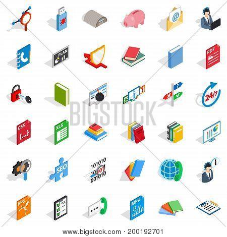 Internet learning icons set. Isometric style of 36 internet learning vector icons for web isolated on white background