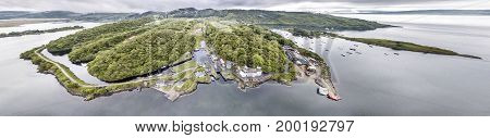 Aerial view of the beautiful historic harbour village of Crinan, Argyll, Scotland