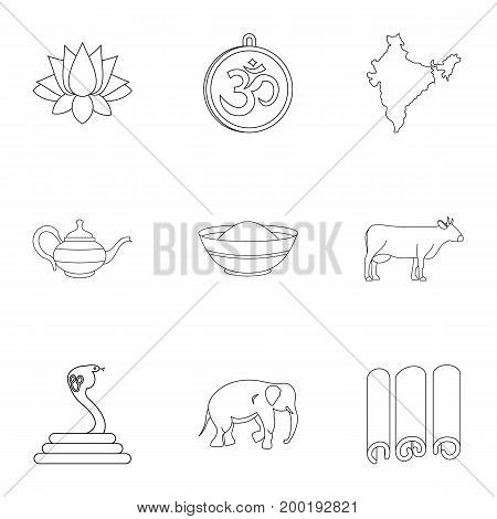 India icon set. Outline style set of 9 India vector icons for web isolated on white background