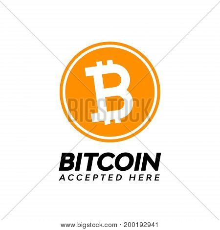 Golden bitcoin digital currency,  accepted here text.
