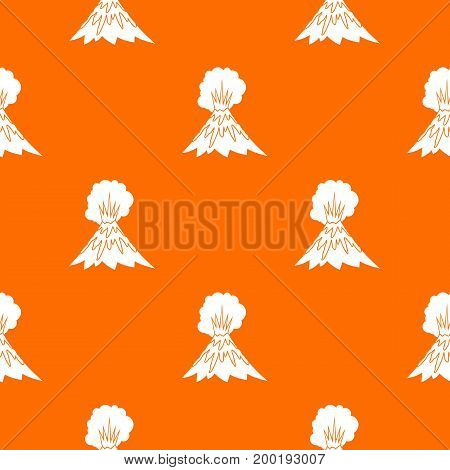 Volcano erupting pattern repeat seamless in orange color for any design. Vector geometric illustration