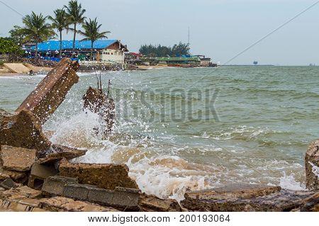 Destroed Stone Pier, Splash Wave Sea