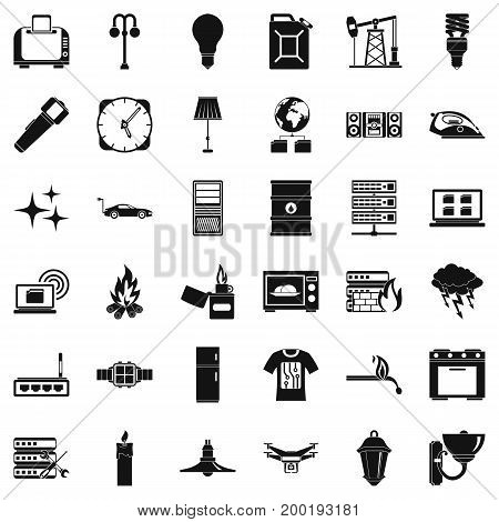 Electricity signal icons set. Simple style of 36 electricity signal vector icons for web isolated on white background