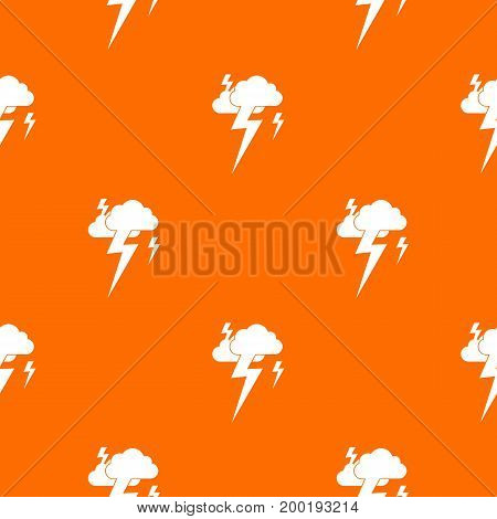Cloud and lightning pattern repeat seamless in orange color for any design. Vector geometric illustration