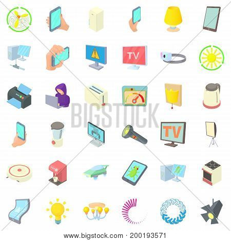 Electricity monitor icons set. Cartoon style of 36 electricity monitor vector icons for web isolated on white background