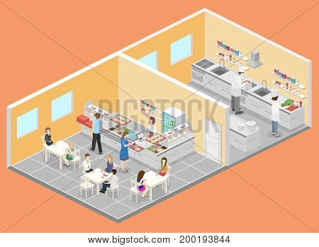 Isometric Flat 3D Interior Of Cafe, Canteen And Restaurant Kitchen.
