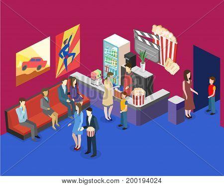 Isometric Flat 3D Interior Of Cinema Waiting Hall. Cinema Cafe