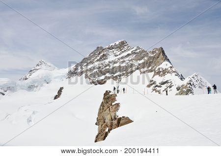 Montreux Switzerland June 1, 2014 : tourist photo and looking view on viewpoint at Jungfrau mountain top of Europe