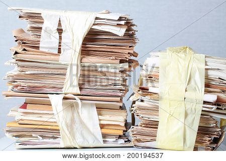 A Pack Of Old Office Papers For Recycling Of Waste Paper