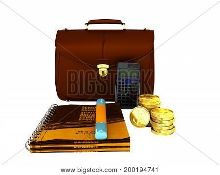 Family Budget Notepad Portfolio 3D Rendering On White Background No Shadow