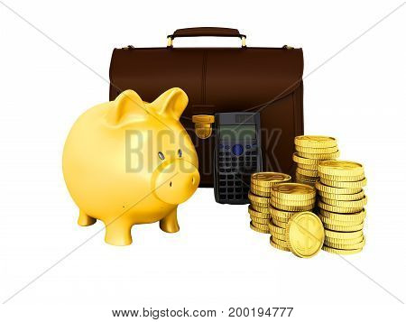 Family Budget Piggy Bank Briefcase 3D Rendering On White Background No Shadow