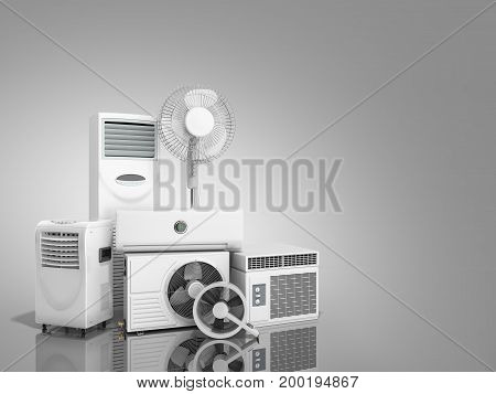 Air Conditioning Equipment 3D Rensder On Grey Background