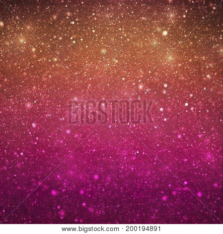 Abstract Glittering Texture With Sparkles On Black Background. Orange And Pink Gradient. Fantasy Fra