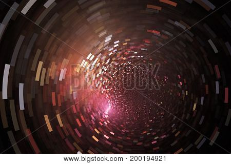Glittering Swirl. Abstract Golden And Red Sparks On Black Background. Fantasy Fractal Texture. Digit