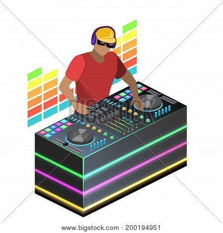 Isometric Flat 3D Concept Vector Cutaway Dj Playing Vinyl. Dj Interface Workspace Mixer Console Turn