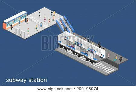 Isometric Flat 3D Concept Metro Subway Train Carriage. Underground Station