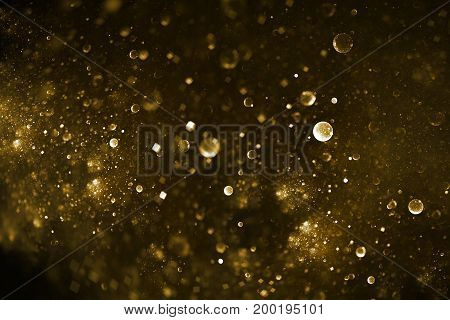 Abstract Colorful Blurred Golden Drops And Sparkles On Black Background. Fantasy Fractal Texture. Di