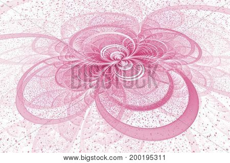 Abstract Exotic Crimson Flower With Shining Sparks On White Background. Fantastic Fractal Design. Ps