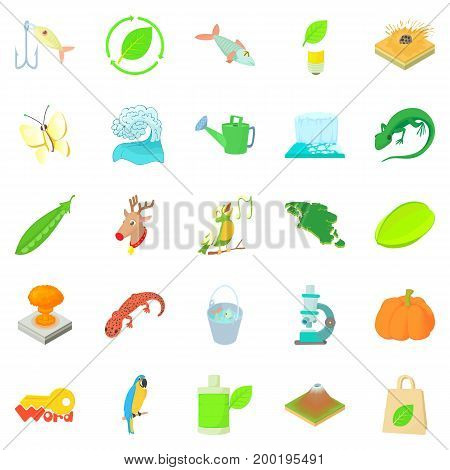 Ecology icons set. Cartoon set of 25 ecology vector icons for web isolated on white background