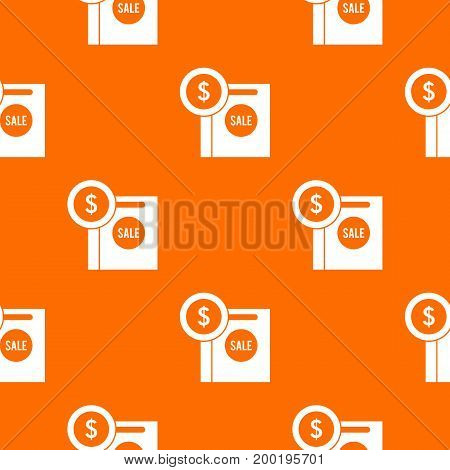 Dollar sign and shopping bag for sale pattern repeat seamless in orange color for any design. Vector geometric illustration
