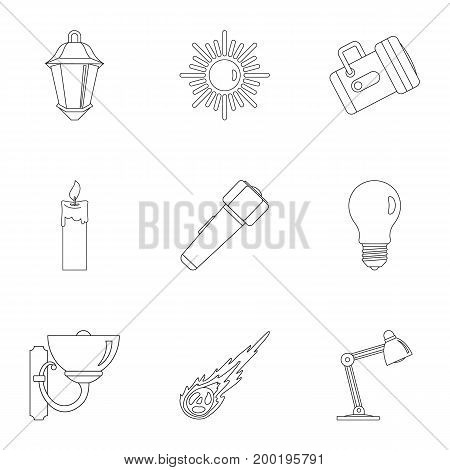 Sources of light icon set. Outline style set of 9 sources of light vector icons for web isolated on white background