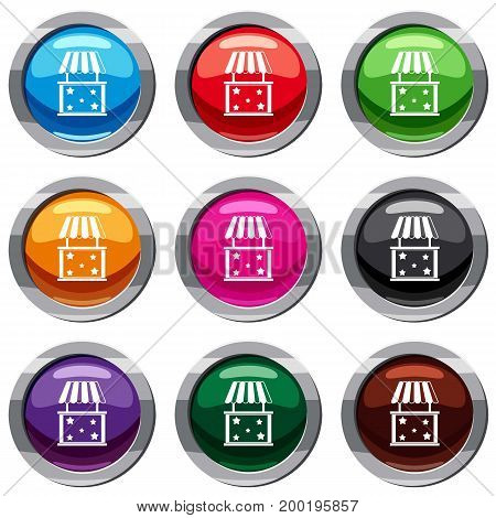 Kiosk set icon isolated on white. 9 icon collection vector illustration