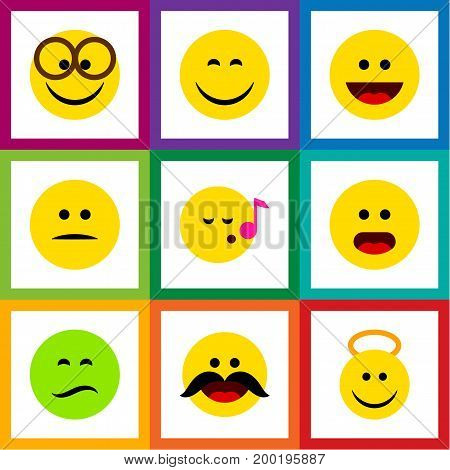 Flat Icon Gesture Set Of Frown, Descant, Pleasant And Other Vector Objects