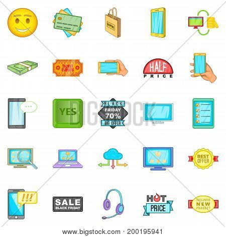 Electronic commerce icons set. Cartoon set of 25 electronic commerce vector icons for web isolated on white background