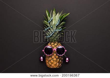 Pineapple Fruit Fashion Hipster. Fun Art Style.Minimal. Summer party Mood, Night club.Tropical pineapple with Disco Sunglasses. Hot Summer Glamour Beach Vibes.