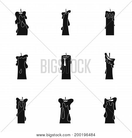 Candle forms icon set. Simple style set of 9 candle forms vector icons for web isolated on white background