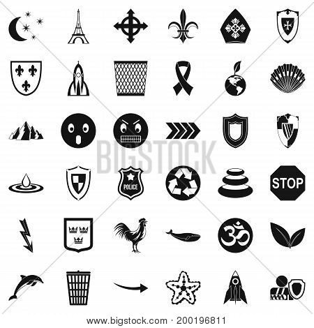 Nice emblem icons set. Simple style of 36 nice emblem vector icons for web isolated on white background