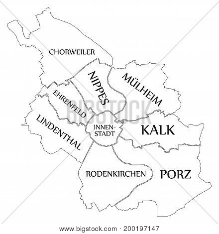 Modern Map - Cologne City Of Germany De
