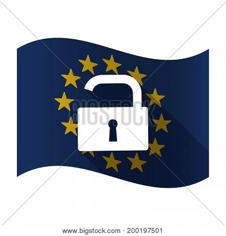 Isolated Eu Flag With An Open Lock Pad