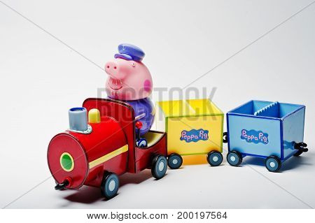 Hai Ukraine - August 10 2017: toy character on a train from famous cartoon Peppa Pig.