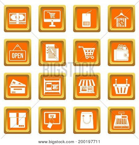 Shopping icons set in orange color isolated vector illustration for web and any design