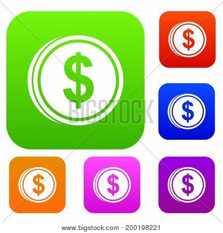 Coin dollar set icon in different colors isolated vector illustration. Premium collection