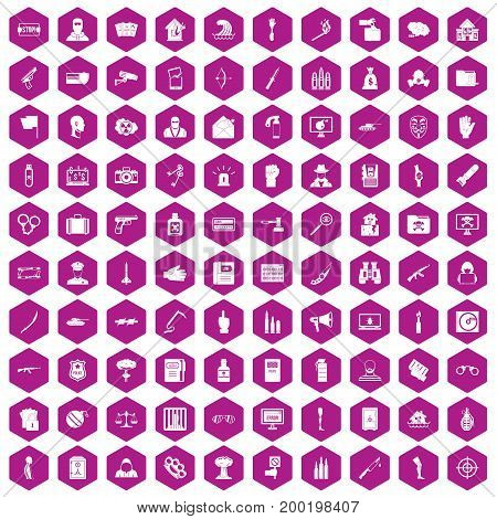 100 violation icons set in violet hexagon isolated vector illustration