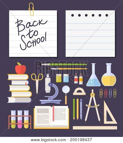 Set school items, supplies: schoolbook, microscope, chemical test tube, books, scissors isolated on dark background. Back to school. Vector illustration.