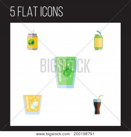 Flat Icon Drink Set Of Lemonade, Cup, Drink And Other Vector Objects