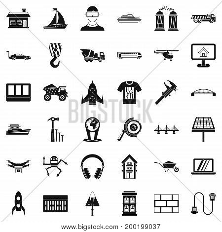Engineering equipment icons set. Simple style of 36 engineering equipment vector icons for web isolated on white background
