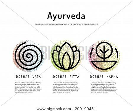 Ayurveda vector illustration doshas vata, pitta, kapha. Ayurvedic body types. Ayurvedic infographic. Healthy lifestyle. Harmony with nature.