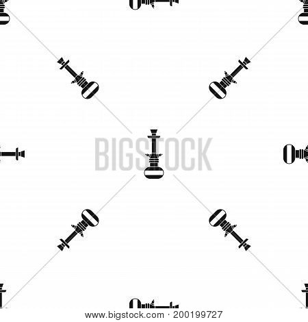 Arabic hookah pattern repeat seamless in black color for any design. Vector geometric illustration